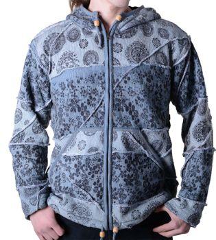 Goa Batik Strickjacke Jacke Zipfelkapuze Hippie für Herren – Bild 1