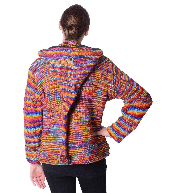a88552ca7c5b Damen Wolljacke Hippie Goa Strickjacke mit Zipfelkapuze Mehrfarbig