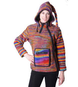 Women's Wool Knit Jacket Hippie Goa With Elfin Hood Multicolored – Bild 1