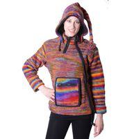 Women's Wool Knit Jacket Hippie Goa With Elfin Hood Multicolored 001