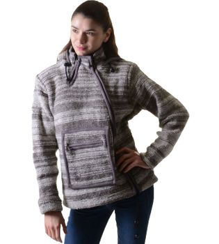 Wolljacke Hippie Goa Strick mit Fleecefutter