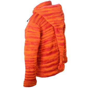 Wool Knit Jacket Hippie Goa With Elfin Hood Orange – Bild 7
