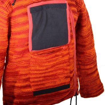 Wool Knit Jacket Hippie Goa With Elfin Hood Orange – Bild 4