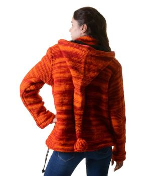 Wool Knit Jacket Hippie Goa With Elfin Hood Orange – Bild 3
