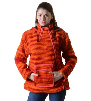 Wool Knit Jacket Hippie Goa With Elfin Hood Orange