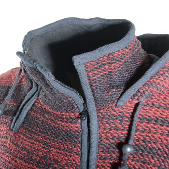 Women's Wool Knit Jacket Hippie Goa With Elfin Hood Red/Black – Bild 5