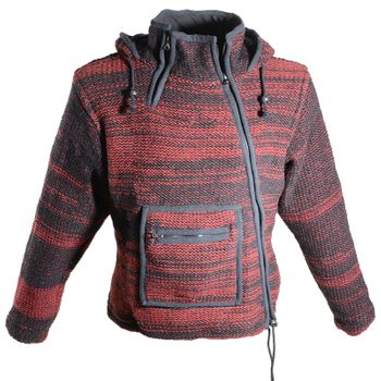 Women's Wool Knit Jacket Hippie Goa With Elfin Hood Red/Black – Bild 1