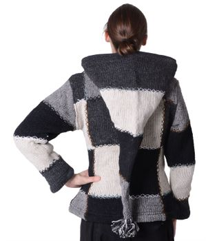 Wool Jacket Hippie Goa Knit Jacket with Elfin Hood – Bild 3