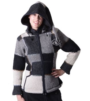 Wool Jacket Hippie Goa Knit Jacket with Elfin Hood – Bild 2