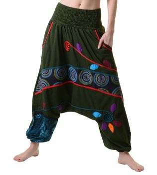 Colorful Hippie Goa Pants Aladdin Pants Patchwork Harem Pants Army Green
