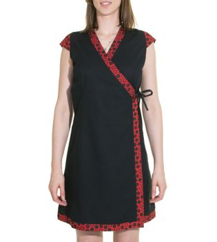 Mini-Wrap Dress Cotton Black/Red