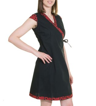 Mini-Wrap Dress Cotton Black/Red – Bild 2