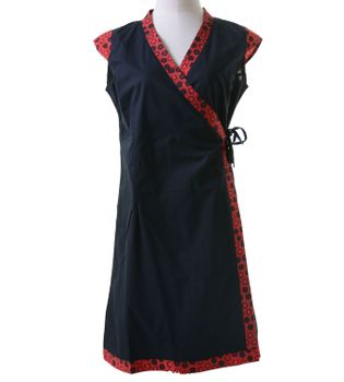 Mini-Wrap Dress Cotton Black/Red – Bild 4