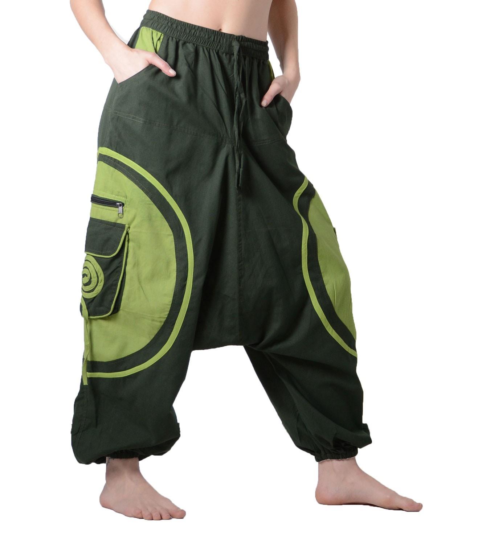 unisex psy baggy pants hippie goa baumwoll hose in gr n ebay. Black Bedroom Furniture Sets. Home Design Ideas