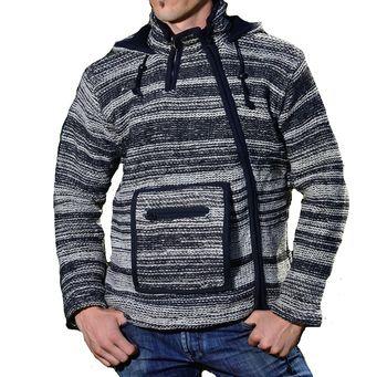 Herren Baja Nepal Strickjacke Poncho Pullover  Wolle mit Fleecefutter und Zipfelkapuze – Bild 1