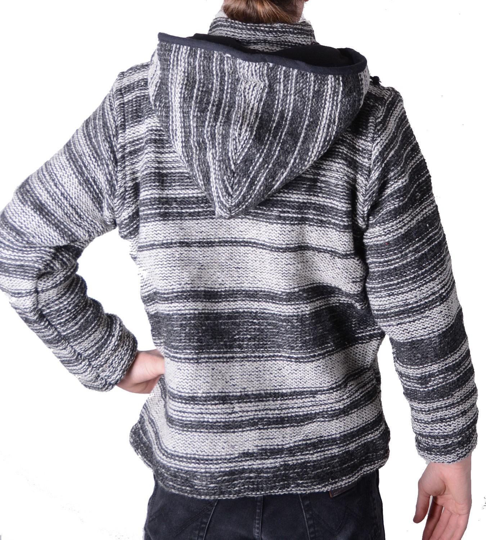 baja nepal herren kapuzen strickjacke poncho pullover wolle fleecefutter kapuze. Black Bedroom Furniture Sets. Home Design Ideas