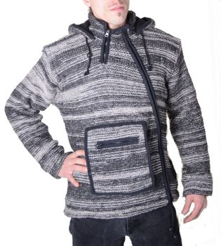 645/5000 Baja Nepal Men's Hooded Sweater Poncho Sweater Wool Fleece Lined Hood – Bild 1