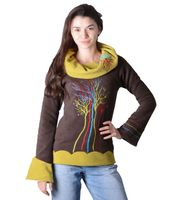 Fleece Sweater The Tree Wide Collar Psy Hippie Fraggle