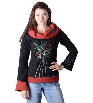 Fleece Pullover The Tree mit breitem Kragen Psy Hippie Fraggle – Bild 2