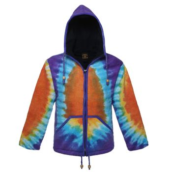 Women's Goa Knit Jacket with Elfin Hood Colorful Hippie Style