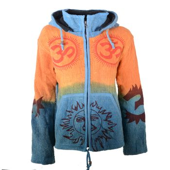 Hippie Om cardigan in a colorful design jacket with detachable elfin hood