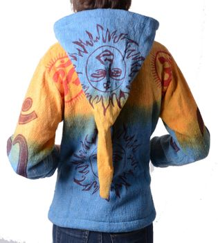Hippie Om cardigan in a colorful design jacket with detachable elfin hood – Bild 4