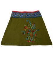 Goa Hippie Miniskirt with Flower Pattern and Colored Waistband
