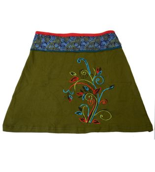Goa Hippie Miniskirt with Flower Pattern and Colored Waistband – Bild 1