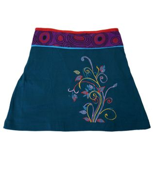 Goa Hippie Miniskirt with Flower Pattern and Colored Waistband – Bild 2