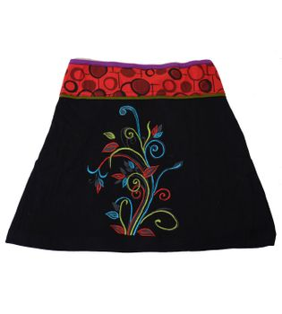 Goa Hippie Miniskirt with Flower Pattern and Colored Waistband – Bild 4