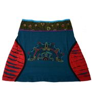 Patchwork Mini Skirt with Colored Waistband Razorcutwork-Style