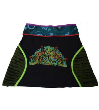 Patchwork Mini Skirt with Colored Waistband Razorcutwork-Style – Bild 4