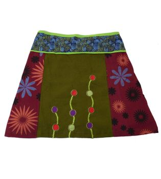 Colorful Patchwork Hippie Mini Skirt with a Stylish Pattern – Bild 1