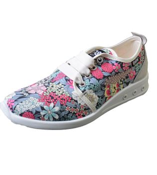Break & Walk Sneakers with Platform Sole White Flower