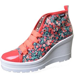 Break & Walk Wedges Sneakers with Platform Sole and Flowers