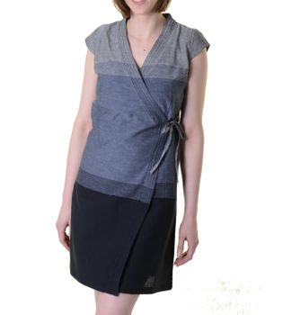 Mini-Wrap Dress Cotton Gray/Black