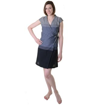 Mini-Wrap Dress Cotton Gray/Black – Bild 4