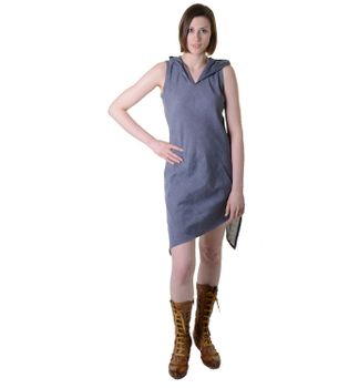 Mini-Wrap Dress Cotton Elfin Hood Gray – Bild 1