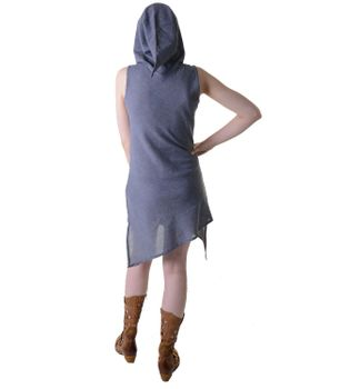Mini-Wrap Dress Cotton Elfin Hood Gray – Bild 3