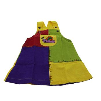 "Multicolored Kids' Patchwork Dungaree Skirt / Pinafore Dress ""Snail"" – Bild 1"