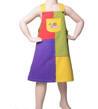 "Multicolored Kids' Patchwork Dungaree Skirt / Pinafore Dress ""Snail"""