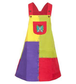"Multicolored Kids' Patchwork Dungaree Skirt / Pinafore Dress ""Butterfly"""