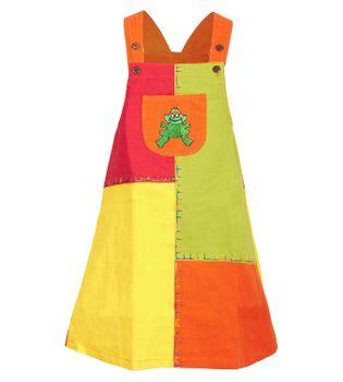 Bunter Kinder Patchwork Latzrock / Kleid mit Tiermotiv Frosch