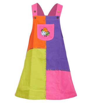 "Multicolored Kids' Patchwork Dungaree Skirt / Pinafore Dress ""Ladybug"""