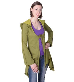 Cotton sweat jacket in a fancy design with a pointed hood - Women jacket to coat – Bild 11