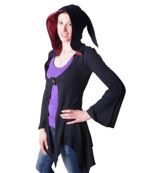 Cotton sweat jacket in a fancy design with a pointed hood - Women jacket to coat – Bild 9
