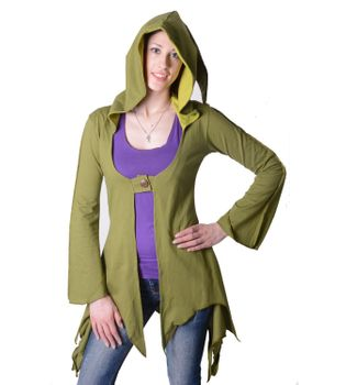 Cotton sweat jacket in a fancy design with a pointed hood - Women jacket to coat – Bild 12