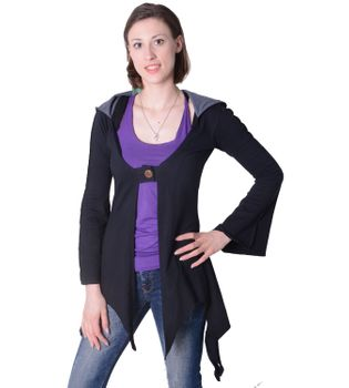 Cotton sweat jacket in a fancy design with a pointed hood - Women jacket to coat