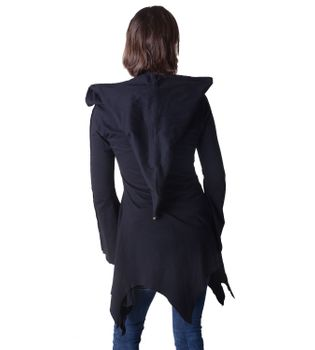 Cotton sweat jacket in a fancy design with a pointed hood - Women jacket to coat – Bild 3