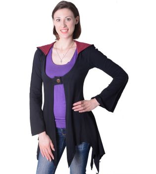 Cotton sweat jacket in a fancy design with a pointed hood - Women jacket to coat – Bild 8